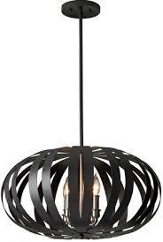 feiss woodstock oval black iron 4 light pendant chandelier