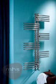 MHS Fingers is a highly polished stainless steel electric towel rail with  cylindrical vertical and horizontal