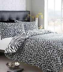 33 strikingly idea leopard print duvet cover single size black white zebra print with leopard reverse duvet quilt cover bed set co uk kitchen home de