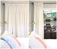 we removed the closet doors and replaced them with floor to ceiling curtains this gives us easy access to closet contents and allows us to utilize the
