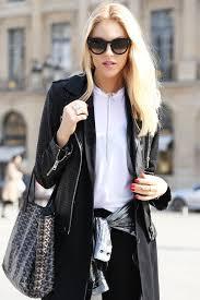 women s black coat black leather er jacket silver dress shirt white crew neck t shirt women s fashion lookastic com