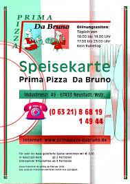 Speisekarte Prima Pizza