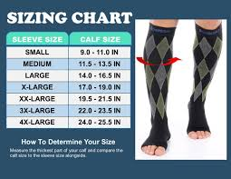 Doc Miller Size Chart Details About Doc Miller Open Toe Compression Sleeve 30 40mmhg Varicose Veins Black Gray Green