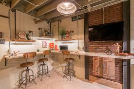 saveemail industrial home office. Basement Office Home Industrial With Metal And Wood Stools Worktop Saveemail R