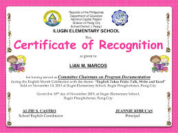 Certificate Of Recognition During English Month Celebration