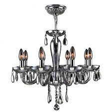 gatsby collection 8 light chrome finish and chrome blown glass chandelier 22 d x 19