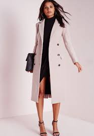 double ted tailored long wool coat mauve