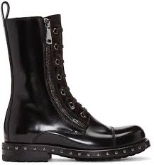 dolce gabbana black patent leather combat boots