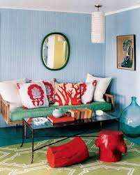 Red And Blue Living Room Red Rooms Martha Stewart