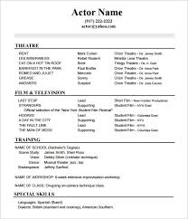 Actor Resume Format Best 10 Acting Resume Templates Free Samples