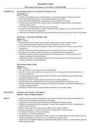 Training Instructor Resume Samples Velvet Jobs