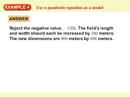 example 4 use a quadratic equation as a model answer reject the negative value