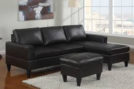 black faux leather sectional sofa w ottoman