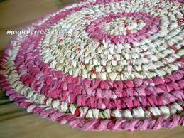 girl room rug round rag rug 61 cm pink crochet rug