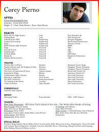 Resumes Movie Theater Resume Examples Actors Skills Outline Acting