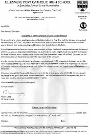 children told dress as a muslim for mosque trip or you will be enlarge the ellesmere port catholic high school letter to parents notifying them of the trip to the