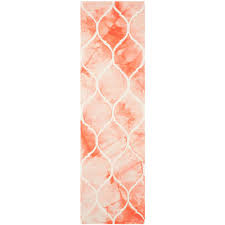 safavieh dip dye orange ivory 2 ft x 8 ft runner rug