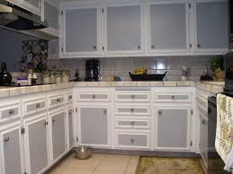 creative graceful high gloss grey kitchen cabinets light subway gray tile backsplash two tone and white