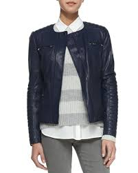 Vince Quilted-Sleeve Leather Moto Jacket &  Adamdwight.com