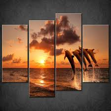 dolphins sunset split canvas wall art pictures prints on dolphin canvas wall art with canvas print pictures high quality handmade free next day delivery