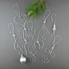 FIVE Beaded Christmas Ornament Hooks - Wire Ornament Hangers with Beads for  Unique Christmas Ornaments