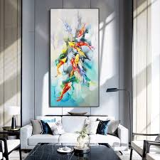 When arranging a feng shui desk, it's important to not just take into account the room color combinations and home decor but to have a clear understanding of. Nine Fish Figure Lucky Feng Shui Entrance Wall Painting Vertical Version Of The Corridor For The Livi Wall Art Living Room Feng Shui Entrance Living Room Wall
