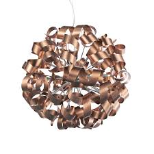 Copper Ribbon Light Dar Raw1264 Rawley 12 Light Satin Copper Ceiling Pendant