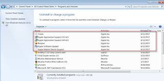 how to remove extra itunes components