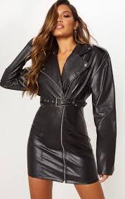 black faux leather biker con dress image 1