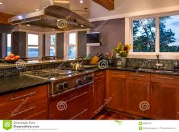 Kitchen Stove Vent Contemporary Upscale Home Kitchen Interior With Wood Cabinets Gas