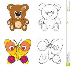 coloring page book for kids bear and erfly stock vector ilration of s