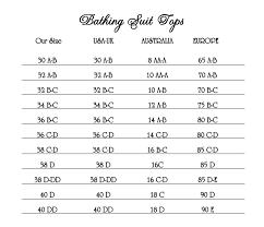 Bathing Suit Top Size Chart Classy Bride Size Chart