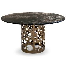 laser cut bronzed metal round marble italian dining table