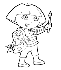 Dora Coloring Pages For Kids Printable Painting