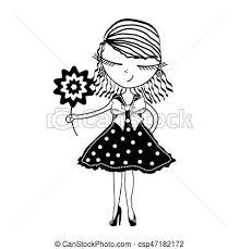 かわいい ベクトル 若い イラスト 背景 女の子 花 白