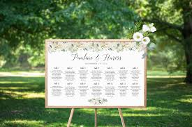 Octavia Greenery Gold Seating Chart Sign