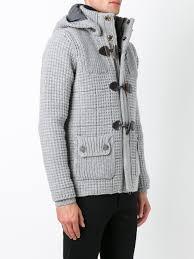 Light Grey Mens Parka Bark Waffle Texture Duffle Coat Light Grey Men Clothing
