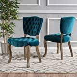 Christopher Knight Home Bates Tufted Velvet Fabric <b>Dining Chairs</b> ...
