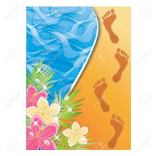 Sand Card Summer Time Card Footprints In The Sand Vector Illustration