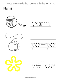 Small Picture Trace the words that begin with the letter Y Coloring Page