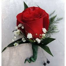 rose boutonniere with es breath