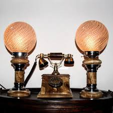 antique marble telephone with two matching onyx sphere table lamps retro vintage rare