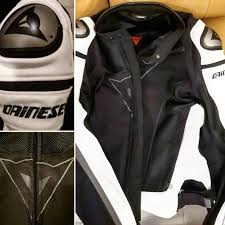 a photograph showing a perforated leather jacket from dainese that comes with ce approved armor