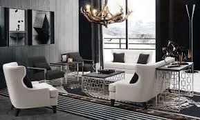 armen living skyline living room set in white bonded leather by armen living lcsk3wh set