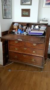 oak bureau circa 1800 various drawers and storage shelves plus work top size 92cmx50cmx110cm