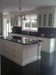 Granite Kitchen Benchtops Indah Island White Cabinets With Black Granite Benchtops Kitchen
