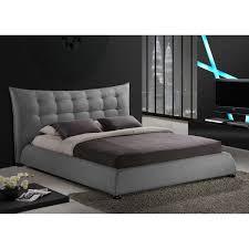 Baxton Studio Marguerite Grey Linen Modern Platform Bed Free