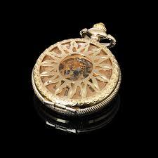 mens gold pocket watch promotion shop for promotional mens gold sun design front case gold case mens hand winding skeleton mechanical pocket watch
