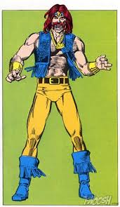 may a suitable offence against super heroes but unfortunately angar screams the 70 s a vest without a shirt and a red handle bar moustache yikes