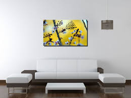 blossoms in yellow background ic canvas wall art